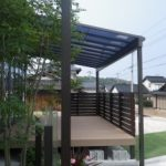 外構工事 ディーズガーデン の 横板 フェンス と LIXIL テラス