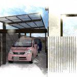 木目調が建物と調和するカーポート
