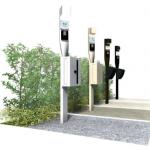 玄関前の設備をコンパクトにまとめた機能門柱
